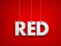 Vitt ord som ÄR RÖTT på röd bakgrund vektor illustrationer