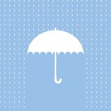 Vitt paraplysymbol på blå bakgrund Royaltyfri Fotografi