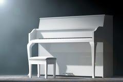 Vitt piano i det volymetriska ljuset framförande 3d Arkivfoton
