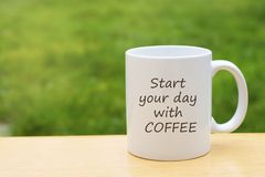 Vitt porslin rånar koppen som isoleras på bakgrund för grönt gräs med kopieringsutrymme tea för kaffekopp royaltyfria foton