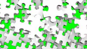 Vitt pussel på grön chromatangent royaltyfri illustrationer