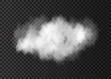 Vitt rökmoln för realistisk vektor som isoleras på genomskinliga lodisar stock illustrationer
