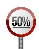 Vitt rött för vägmärke med ord 50 procent. Royaltyfri Bild