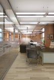 Vitt rent kontor med möblemang Arkivbild