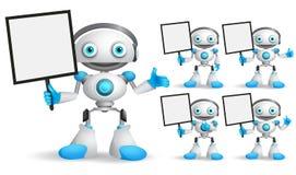 Vitt robotvektortecken - fastställt anseende medan hållande tomt plakat stock illustrationer