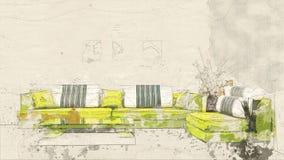 Vitt rum med soffan stock illustrationer