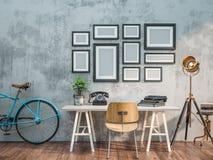 Vitt rum som dekoreras i tappningstil Arkivfoto