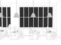 Vitt rum som kontor med tolkningen för skrivbord- och bärbar datordator 3D arkivbilder