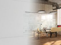 Vitt rum som kontor med tolkningen för skrivbord- och bärbar datordator 3D arkivbild