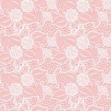 Vitt sömlöst snör åt den blom- modellen på rosa bakgrund vektor illustrationer