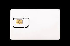 Vitt simkort för mobiltelefon den svarta bakgrunden Arkivfoton