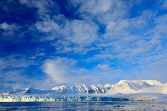 Vitt snöig berg, blå glaciär Svalbard, Norge Is i havet Isberg i nordpolen Blå himmel med isisflak Härlig landsc Arkivfoto