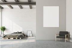 Vitt sovrum, horisontalaffisch, fåtölj Royaltyfria Bilder