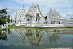 Vitt tempel, watrongkhun, Chiang Rai Arkivfoton