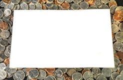 Vitt textområde på en bakgrund av USA-mynt Arkivfoto