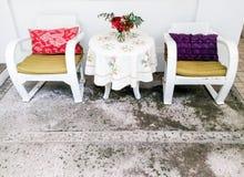 vitt trä för stol arkivfoto
