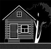 Vitt trähus med ett träd på en svart bakgrund Fotografering för Bildbyråer
