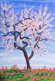 Vitt träd som målar Arkivbilder