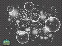 Vitt vatten bubblar med reflexionsuppsättningen på genomskinlig bakgrundsvektorillustration royaltyfri illustrationer