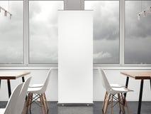 Vitt vertikalt baner i restaurang framförande 3d vektor illustrationer