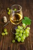 Vitt vin i ett exponeringsglas med vinrankan och druvor Arkivbilder