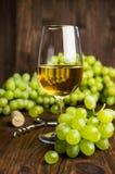 Vitt vin i ett exponeringsglas med vinrankan och druvor Arkivbild