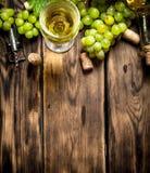 Vitt vin med filialdruvor Arkivbild