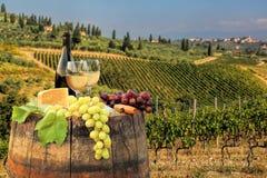 Vitt vin med trumman på vingård i Chianti, Tuscany, Italien arkivbild