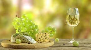 Vitt vin, ost och druvor på trätabellen med suddig wineyard i bakgrund royaltyfri fotografi