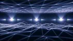 vitt Wireframe landskap för 3D i öglasbakgrund för cyberspace VJ vektor illustrationer