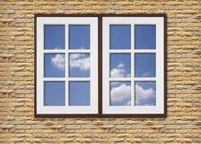 Vitt wood fönster på stenväggar Royaltyfri Foto