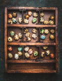 Vittage Wooden box with colorful eggs for Easter feast on dark rustic background Royalty Free Stock Photos