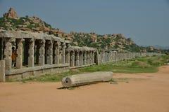 Vittalapura - rest av en församling, som fanns runt om den Vittala templet, Hampi, Indien royaltyfria foton