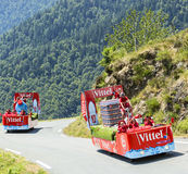 Vittel Caravan in Pyrenees Mountains - Tour de France 2015 Royalty Free Stock Images