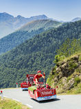 Vittel Caravan in Pyrenees Mountains - Tour de France 2015 Royalty Free Stock Image