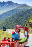 Vittel Caravan in Pyrenees Mountains - Tour de France 2015. Col D'Aspin,France- July 15,2015: Vittel Caravan during the passing of the Publicity Caravan on the Royalty Free Stock Images