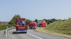 Vittel Caravan - Tour de France 2015. Sainte Marguerite sur Mer, France - July 09, 2015: Vittel Caravan during the passing of Publicity Caravan before the stage stock photo