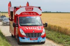 Vittel-Fahrzeug - Tour de France 2015 Stockbild