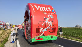Vittel Vehicle. Ardevon, France- July 10, 2013: A vehicle advertising Vittel driving during the passing of the publicity caravan in the stage 11 of the edition Royalty Free Stock Image
