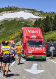 Vittel Vehicle. Col de Pailheres,France- July 06 2013:A vehicle advetising Vittel on the road to Col de Pailheres (Pyrenees Mountains), during the passing of the Royalty Free Stock Photos