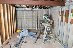 Vittima di incidente, sulla lesione di job, problema di sicurezza Fotografia Stock