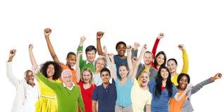 Vittoria allegra di successo della Comunità di felicità di celebrazione della gente Fotografie Stock