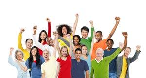 Vittoria allegra di successo della Comunità di felicità di celebrazione della gente Fotografia Stock Libera da Diritti