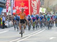 Vittoria del ciclista Fotografie Stock