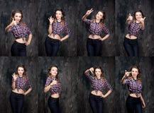 Vittoria di manifestazione della ragazza, Male, buon, segno giusto e vaffunculo In studio Fotografia Stock