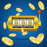 Vittoria dorata di concetto di estrazione mineraria di Bitcoin Vettore Immagine Stock