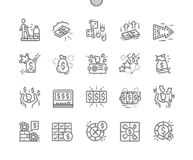 Vittoria enorme alla linea sottile icone di vettore perfetto del pixel Ben-elaborata casinò royalty illustrazione gratis