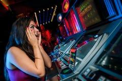 Vittoria sullo slot machine Fotografie Stock