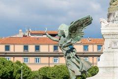 Vittoriano宫殿雕象维托里奥・埃曼努埃莱・迪・萨伏伊纪念碑的,阿尔塔雷della帕特里亚,威尼斯广场,罗马意大利 免版税图库摄影