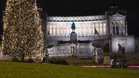 Vittoriano, Piazza venezia in een nacht van Kerstmis Stock Foto